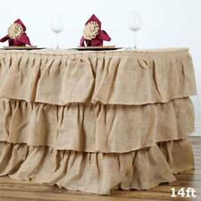 14 ft Natural Burlap TABLE SKIRT 3 Tiers Ruffles Wedding Party Catering Supply