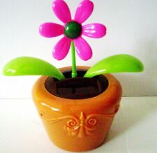 Solar Powered Dancing Pink/Green Flower Flip Flap Plant Bobble Swing Pot