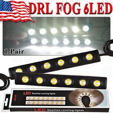 White Car DRL 6 LED Flexible Eagle-eye Daytime Running Light Fog Kit Lamp 12V