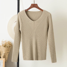 New Women Long Sleeve V-neck Ribbed Jumper Ladies Slim Fit Knitted Top