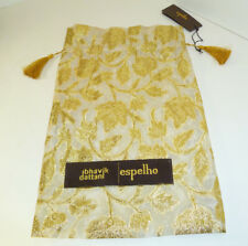 NWT Espelho Potli Pouch Purse Drawstring Gift Bag Vegan Cream/Gold Leaf Design