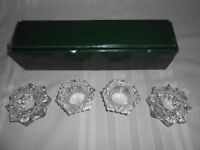 "NICE SET OF 4 ""WILLIAMS-SONOMA"" HEAVY GLASS CRYSTAL VOTIVE CANDLE HOLDERS"