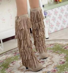 Chic Womens Boho Faux Suede High Heels Fringe Tassel Western Knee High Boot Fall
