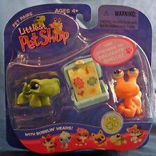 Littlest Pet Shop retired 189 188 turtle & orange hermit crab with stickers