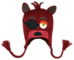 Five Nights At Freddy's Foxy Costume Beanie Hat FNAF Embroidered Face Laplander