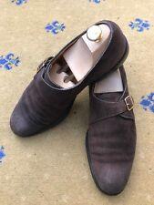 John Lobb para Hombre Marrón Zapatos De Gamuza UK 9.5 nos 10.5 EU 43.5 Hebilla Correa Verdi
