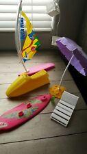 1989 Barbie Wet n Wild Surf Set - Jet Ski Windsurf Umbrella Chair