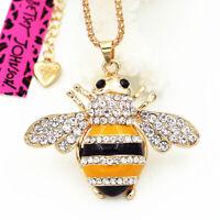 Cute Bee Honeybee Crystal Enamel Pendant Sweater Chain Betsey Johnson Necklace