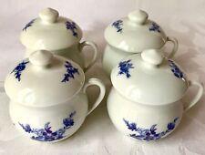 4 Charming French Porcelain Blue & White Pots De Creme, Lamalle New York