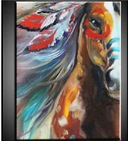 ZWPT331 100% hand-painted modern color animal horse art oil painting on canvas