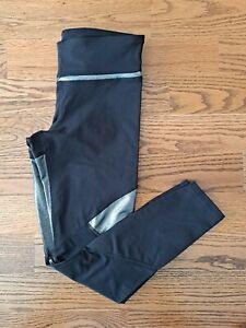 Joy Lab Running Athletic Leggings Cropped Pants Women's Size S Black/Silver EUC