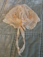 Antique Victorian Baby doll hat bonnet original Blush Pink Smocking Netting