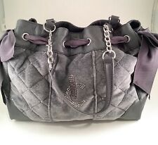 JUICY COUTURE Bag Daydreamer Quilted Purse Velour Gray Large Rhinestone Handbag