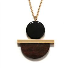 Collier géométrique en résine circulaire en bois Collier chaîne en or Collier