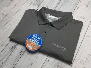 NEW Columbia PFG Vented Polo Shirt Mens Medium Fishing Gear Stretch UPF 50! NWT