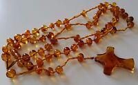 Vintage Baltic Amber Cognac Color Round Beads Long Necklace & Pendant