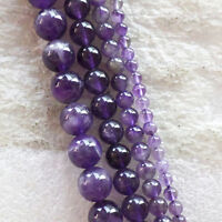 4/6/8/10mm Exquisite Natural Amethyst Round Ball Loose Bead 15.5 inch U193