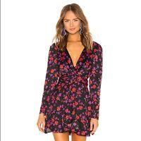 NWT L Academie Revolve The Jane Mini Wrap Dress in Black Floral Size M Ret $188