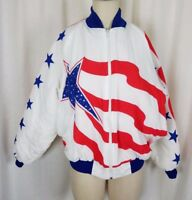 Vintage Great Threads Stars & Stripes Quilted Bomber Jacket Womens M USA Patriot