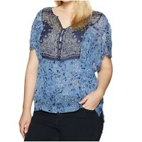 Lucky Brand Trendy Plus Size Sheer Peasant Top