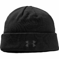 Under Armour Men's UA Outdoor Knit Fleece Beanie Cap BLACK with Black Logo