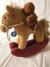 Vintage Dakin Baby Teddy Bear on Rocking Horse Plush 1985
