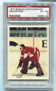 1970-71 Swedish Masterserien NNO Ken Dryden RC Rookie Card Canada PSA 6 EX-Mint