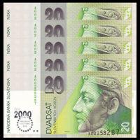 Lot 5 PCS, Slovakia 20 Korun, 2000, P-34, UNC, Banknotes