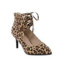 Leopard Print Ghillie Pump Heels Shoes with Back Zipper Closure Women's Size 6