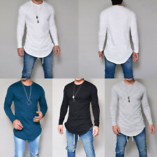 Mens Slim Fit Long Sleeve Muscle T-shirt Tops Work Casual Long Dress Shirts Tee