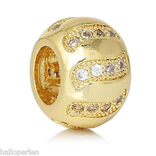 European Style Charm Copper Beads Barrel Gold Plated Stripe Pave Zircon 11x8mm