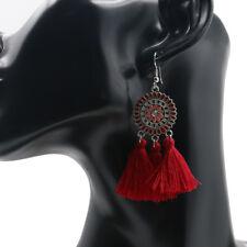 1 Pair Women Hollow-out Solar System Flower Wine Red Tassel Earrings