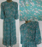 NEW Next £42 Tea Dress Midi Floral Print Green Grey Floaty Vintage Style 6-20