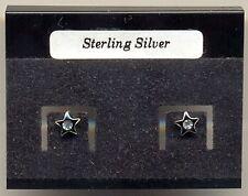 Negro Estrella de Cristal Pendientes de Plata 925 Tacos Cardado