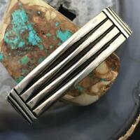 L.Tahe Native American Sterling Silver Bold Strips Mens Cuff Bracelet