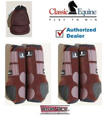 Large Brown Classic Equine Front Rear Legacy Horse Sports Leg No Turn Bell Boots