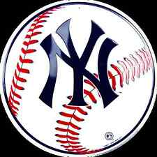"NEW YORK YANKEES 12"" ROUND METAL BASEBALL SIGN YANKEES MAN CAVE SPORTS ROOM SIGN"