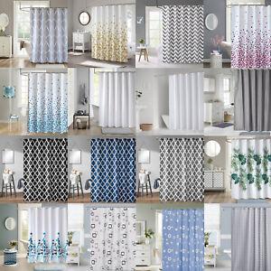 New Bathroom Shower Curtain Water Resistant 180cm 200cm  Long Modern Designs UK