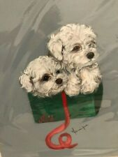 More details for stunning hand painted bichon frise un-mounted picture christmas noel
