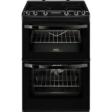 Zanussi ZCV664FPB 60cm Electric Ceramic Double Oven Cooker with Grill  Black