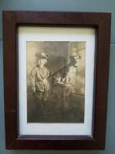 Antique Vintage Photo Dog and Boy ? Girl ? in Soldier Suit 6x8""