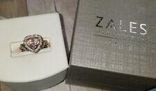$499 Zakes 10k Rose Gold Morganite heart halo Diamond ring