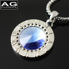 "Blue round roman numeral pendant 18"" chain necklace US SELLER"