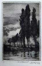More details for anton lock (1893-1971) tall poplars by a riverbank -orig. signed ltd ed etching