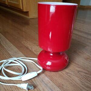 "Ikea Lykta Red Retro Mushroom Glass Table Lamp 10"" Tall Working Condition"