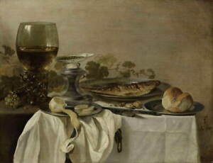 Pieter Claesz Still Life with a Fish Giclee Art Paper Print Poster Reproduction