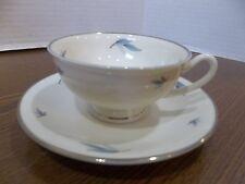 celeste syracuse china blue leaves flower dinnerware tea cup saucer plate silver