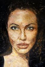 Angelina Jolie,Palette Knife oil painting. Actress, Hollywood, Movies. Textured