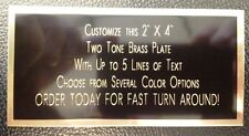 "Engraved Plate 2""x4"" BRASS TWO TONE Custom Name Plate Tag Plaque Art Label Gift"