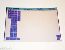 Microfiche Catalogue de Pièces Rechange Yamaha Pw 50 à partir 1991 Stand 09/1990